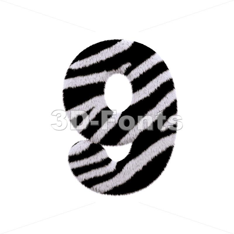 zebra number 9 - 3d digit - 3d-fonts