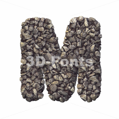 3d Capital character M covered in crushed rock texture - 3d-fonts