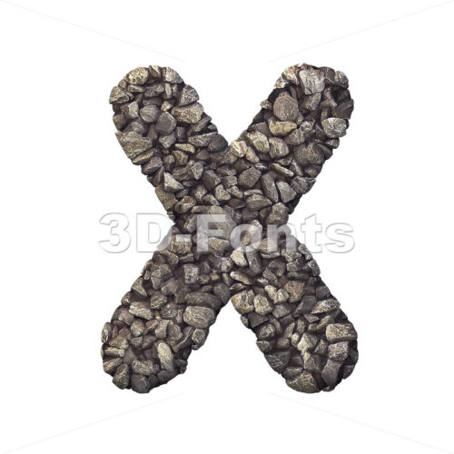 3d Upper-case character X covered in crushed rock texture - 3d-fonts