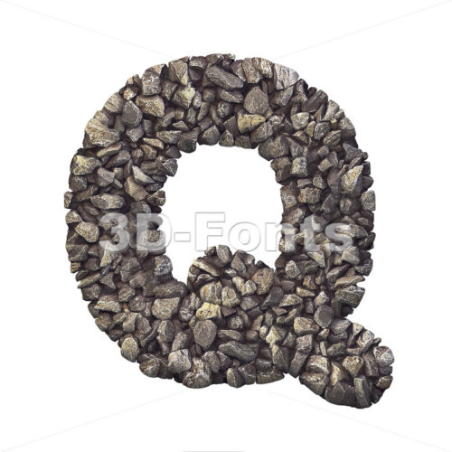 3d Upper-case font Q covered in crushed rock texture - 3d-fonts
