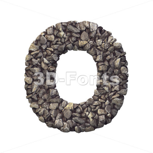 3d Upper-case letter O covered in stone texture - 3d-fonts
