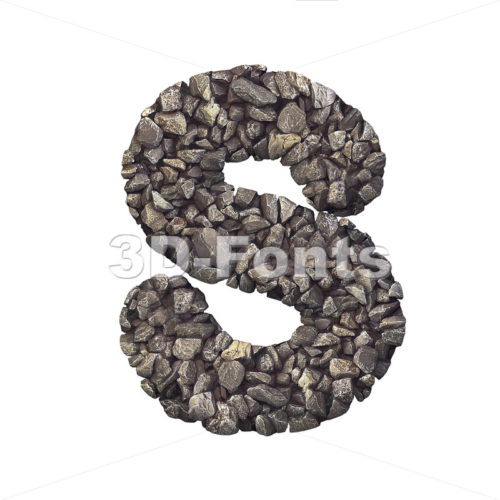 3d Uppercase font S covered in stone texture - Capital 3d letter - 3d-fonts