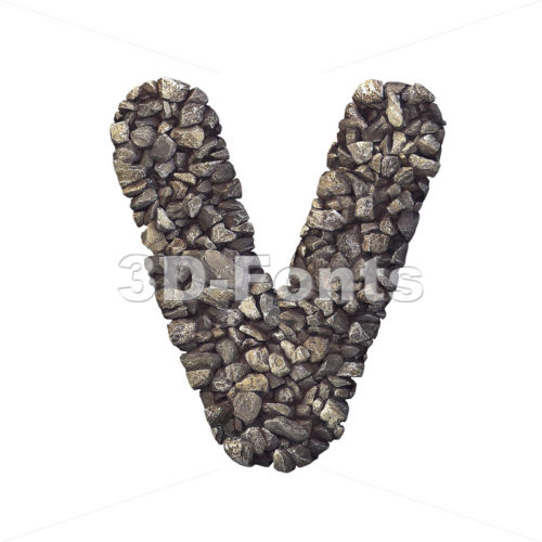 Capital stone letter V - Upper-case 3d character - 3d-fonts