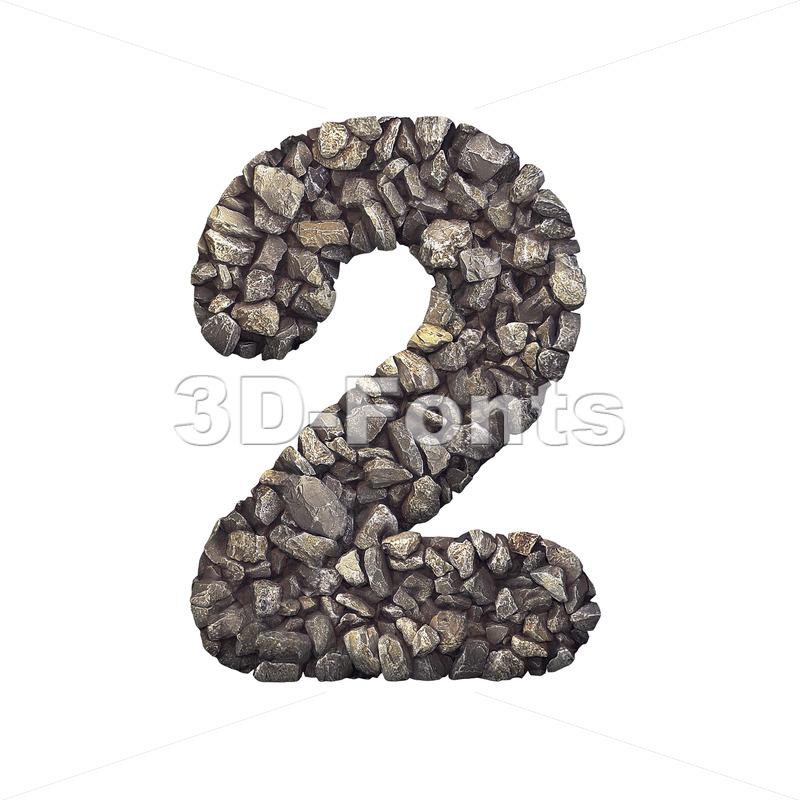 Gravel digit 2 - 3d number - 3d-fonts.com