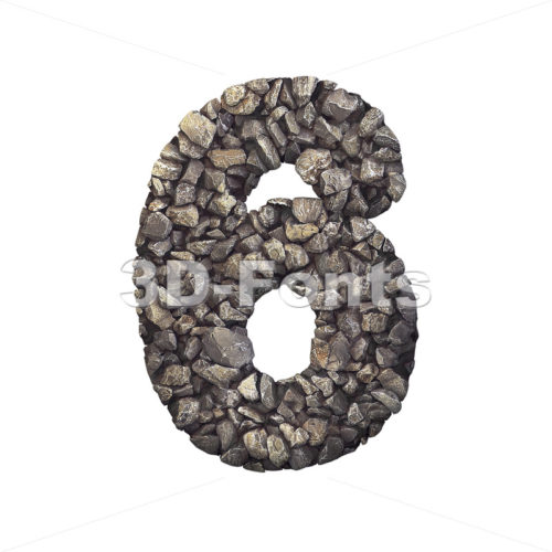 Gravel digit 6 - 3d number - 3d-fonts