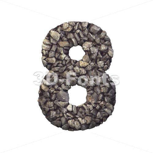 Gravel digit 8 - 3d number - 3d-fonts