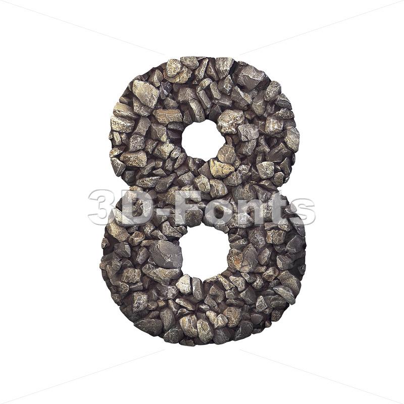 Gravel digit 8 - 3d number - 3d-fonts.com