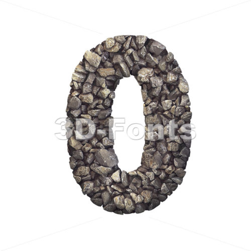 Gravel number 0 - 3d digit - 3d-fonts