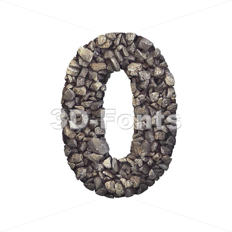 Gravel number 0 - 3d digit - 3d-fonts