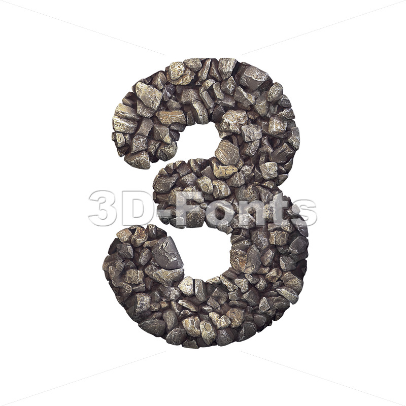 Gravel number 3 - 3d digit - 3d-fonts