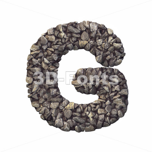 Upper-case stone character G - Capital 3d font - 3d-fonts
