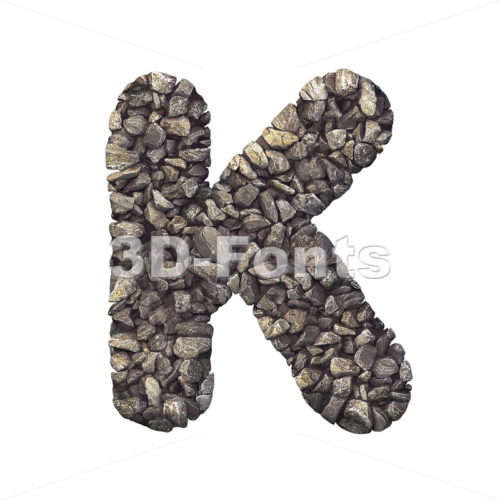 Uppercase stone letter K - Capital 3d font - 3d-fonts