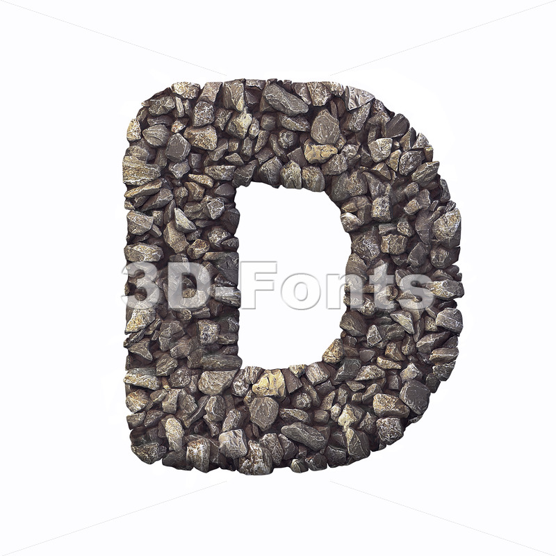 crushed rock font D - Capital 3d character - 3d-fonts