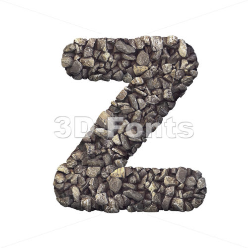 crushed rock letter Z - Upper-case 3d font - 3d-fonts