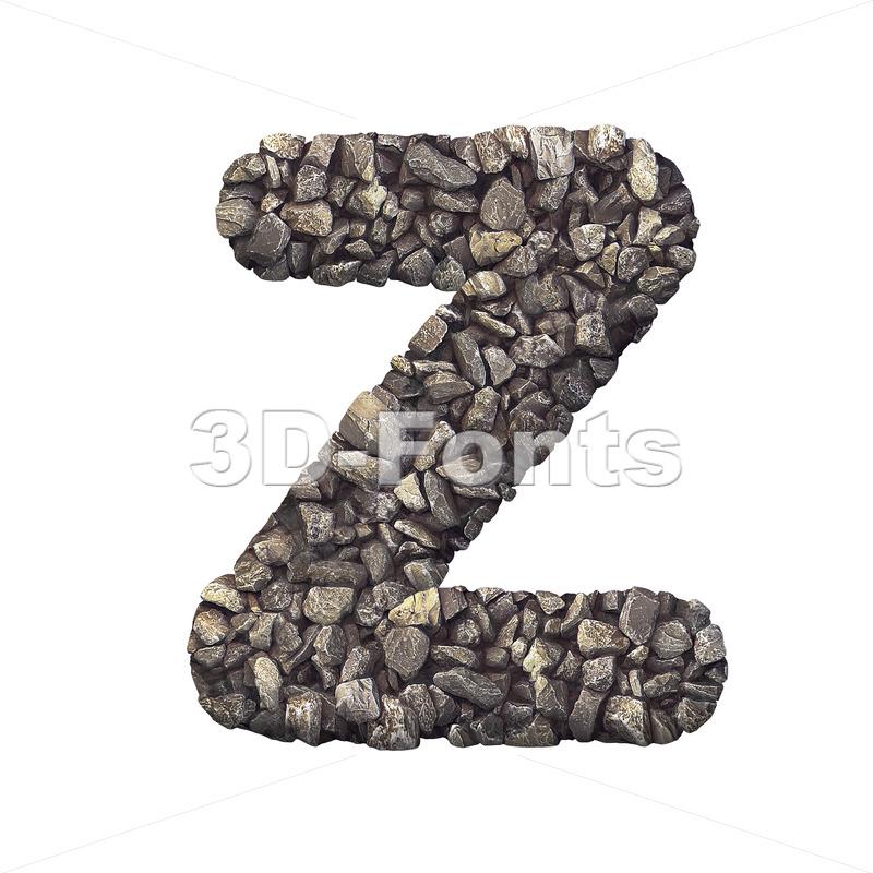 crushed rock letter Z - Upper-case 3d font - 3d-fonts