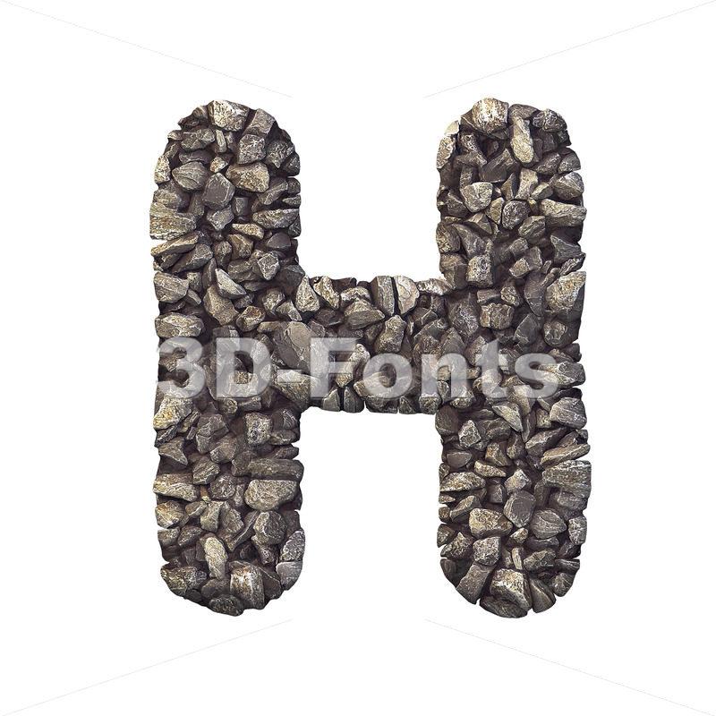 stone 3d letter H - Upper-case 3d character - 3d-fonts
