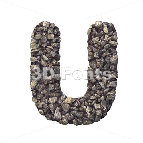 stone 3d letter U - Capital 3d font - 3d-fonts