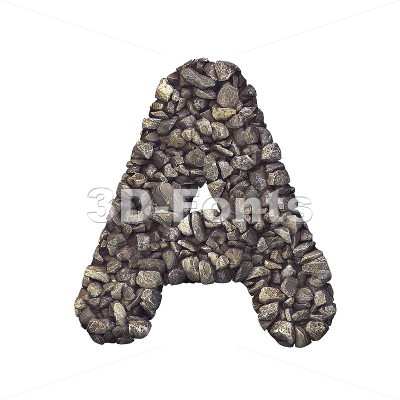 stone letter A - Capital 3d character - 3d-fonts