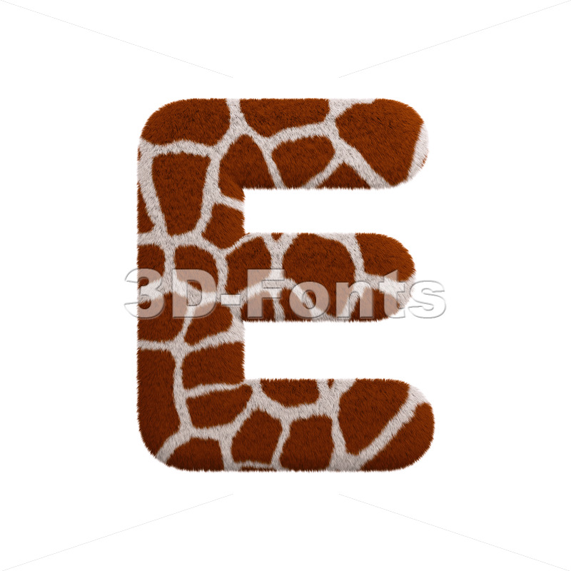 3d Capital character E covered in giraffe texture - 3d-fonts