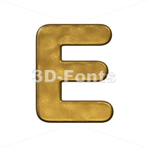 3d Capital character E covered in gold foiled texture - 3d-fonts