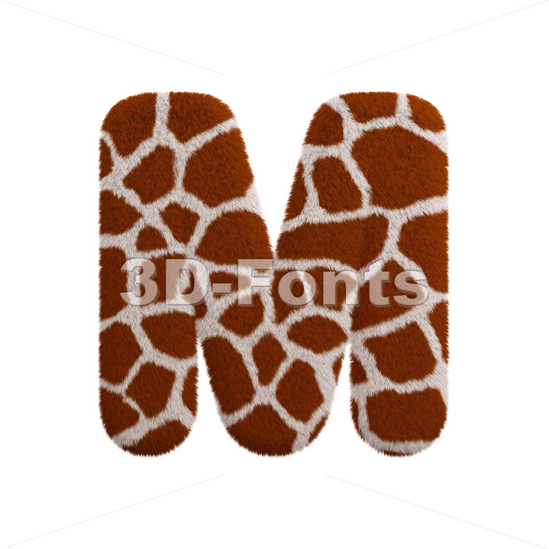 3d Capital character M covered in giraffe texture - 3d-fonts