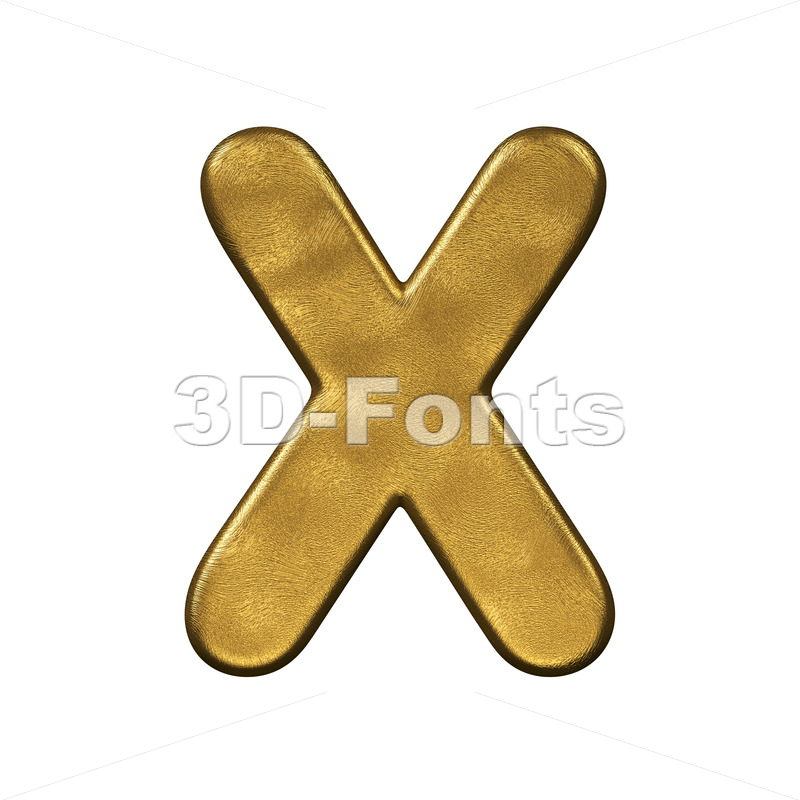 3d Upper-case character X covered in gold foiled texture - 3d-fonts