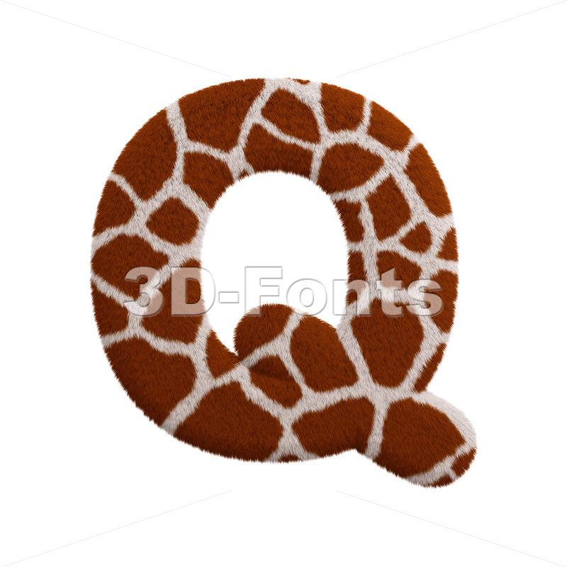 3d Upper-case font Q covered in giraffe texture - 3d-fonts