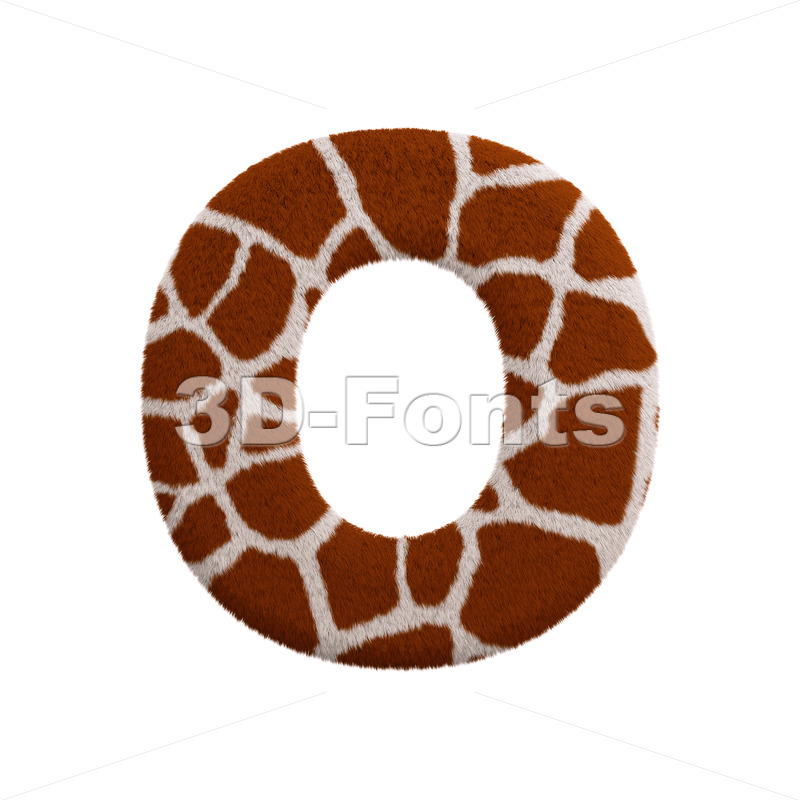 3d Upper-case letter O covered in giraffe fur - 3d-fonts