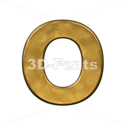 3d Upper-case letter O covered in golden texture - 3d-fonts