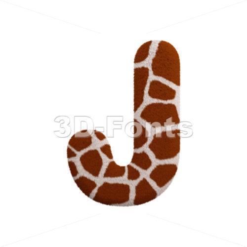3d Uppercase font J covered in safari fur texture - 3d-fonts