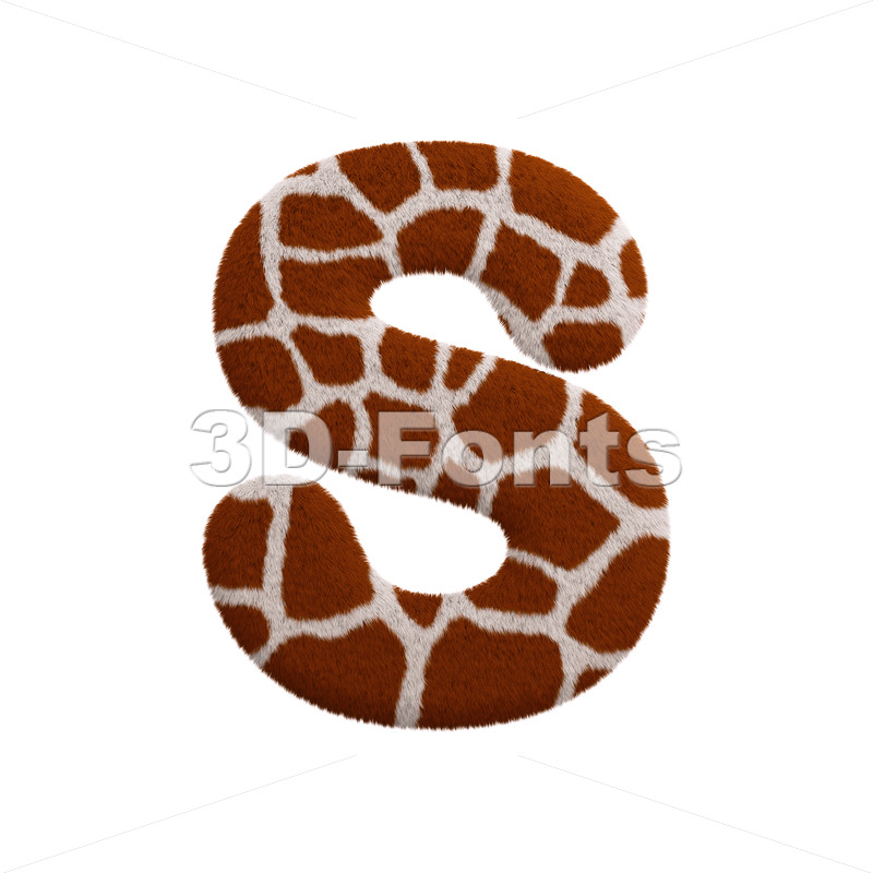 3d Uppercase font S covered in giraffe texture - 3d-fonts