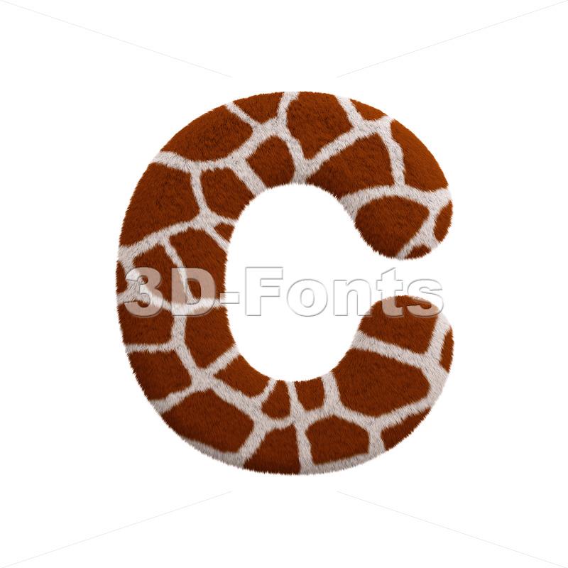 3d giraffe font C - Capital 3d letter - 3d-fonts