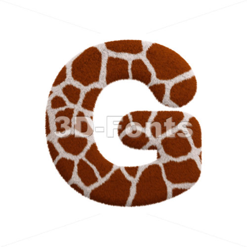 Upper-case giraffe character G - Capital 3d font - 3d-fonts