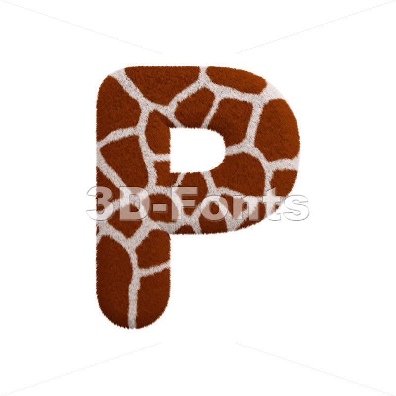 Upper-case giraffe coat character P - Capital 3d font - 3d-fonts