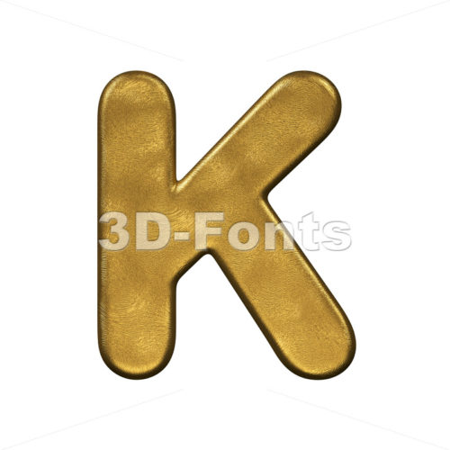 Uppercase golden letter K - Capital 3d font - 3d-fonts