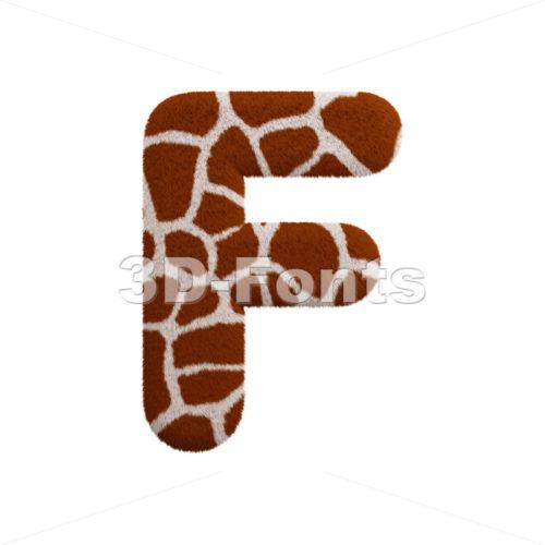 giraffe coat letter F - Upper-case 3d font - 3d-fonts