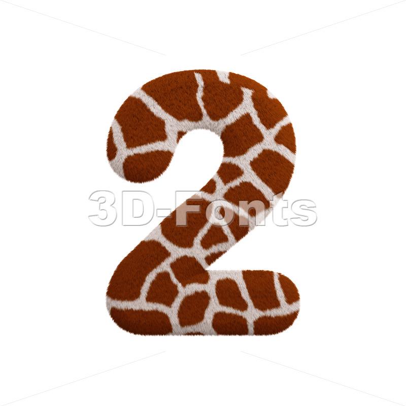 giraffe digit 2 - 3d number - 3d-fonts