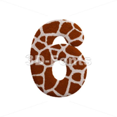 giraffe digit 6 - 3d number - 3d-fonts