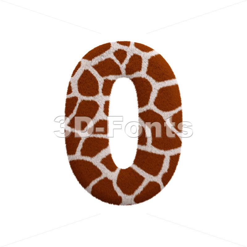 giraffe number 0 - 3d digit - 3d-fonts