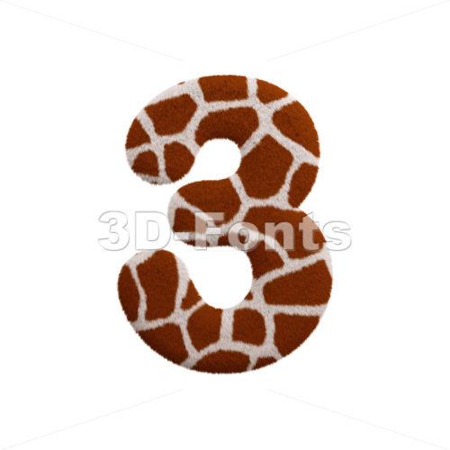 giraffe number 3 - 3d digit - 3d-fonts