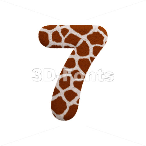 giraffe number 7 - 3d digit - 3d-fonts