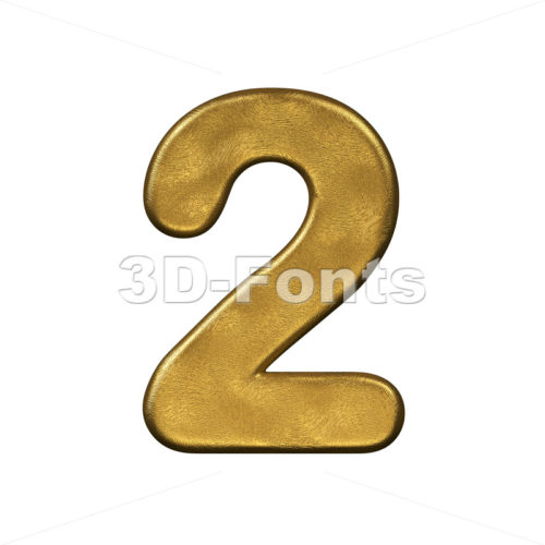 gold digit 2 - 3d number - 3d-fonts