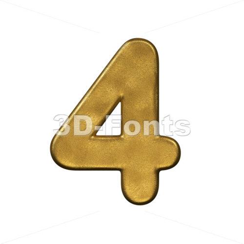 gold digit 4 - 3d number - 3d-fonts