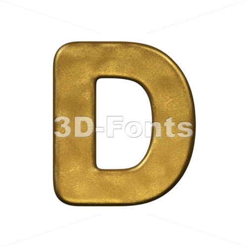 gold foiled font D - Capital 3d character - 3d-fonts