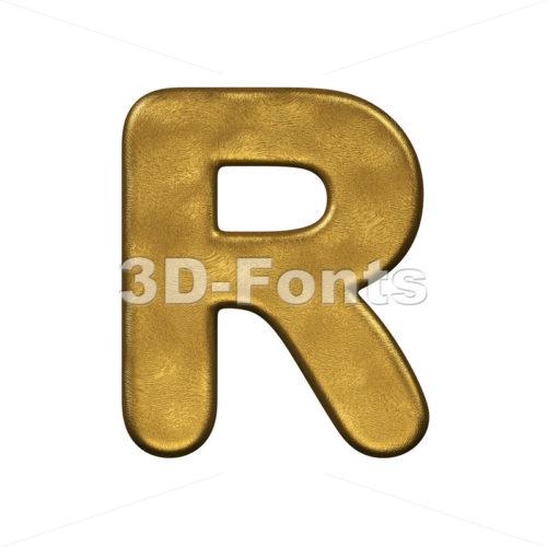 gold foiled letter R - Uppercase 3d font - 3d-fonts