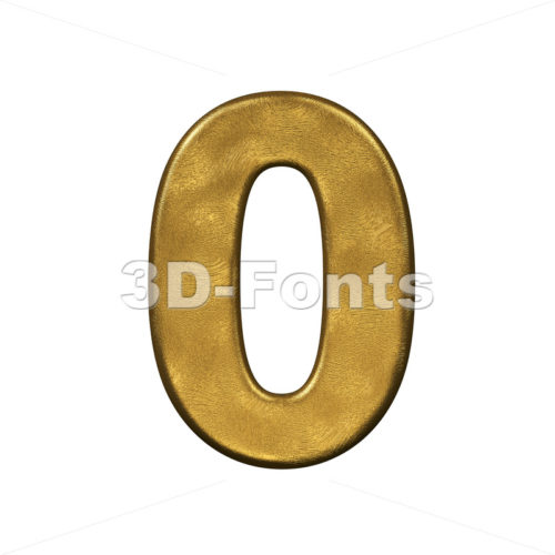 gold number 0 - 3d digit - 3d-fonts