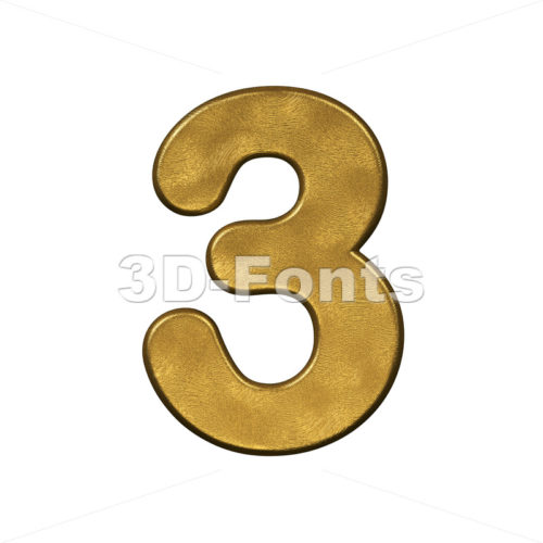 gold number 3 - 3d digit - 3D Fonts Collections   Top Quality Letters, Numbers and Symbols !