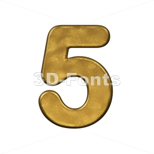 gold number 5 - 3d digit - 3d-fonts