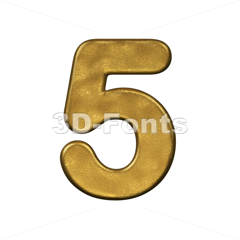 gold number 5 - 3d digit - 3d-fonts