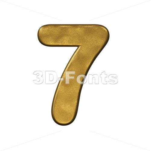gold number 7 - 3d digit - 3d-fonts